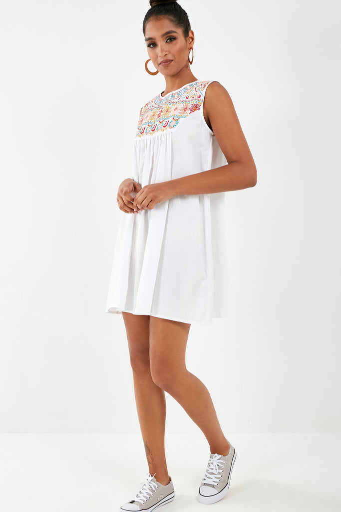 Suzzy White Embroidered Smock Dress