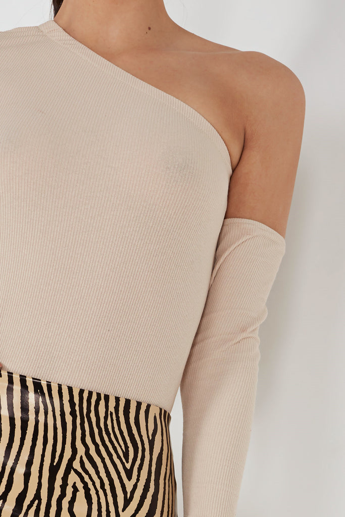 Sybill Beige Cold Shoulder Ribbed Bodysuit