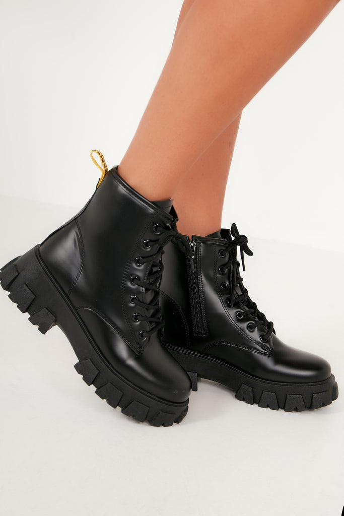 Tabatha Black Chunky Short Boot