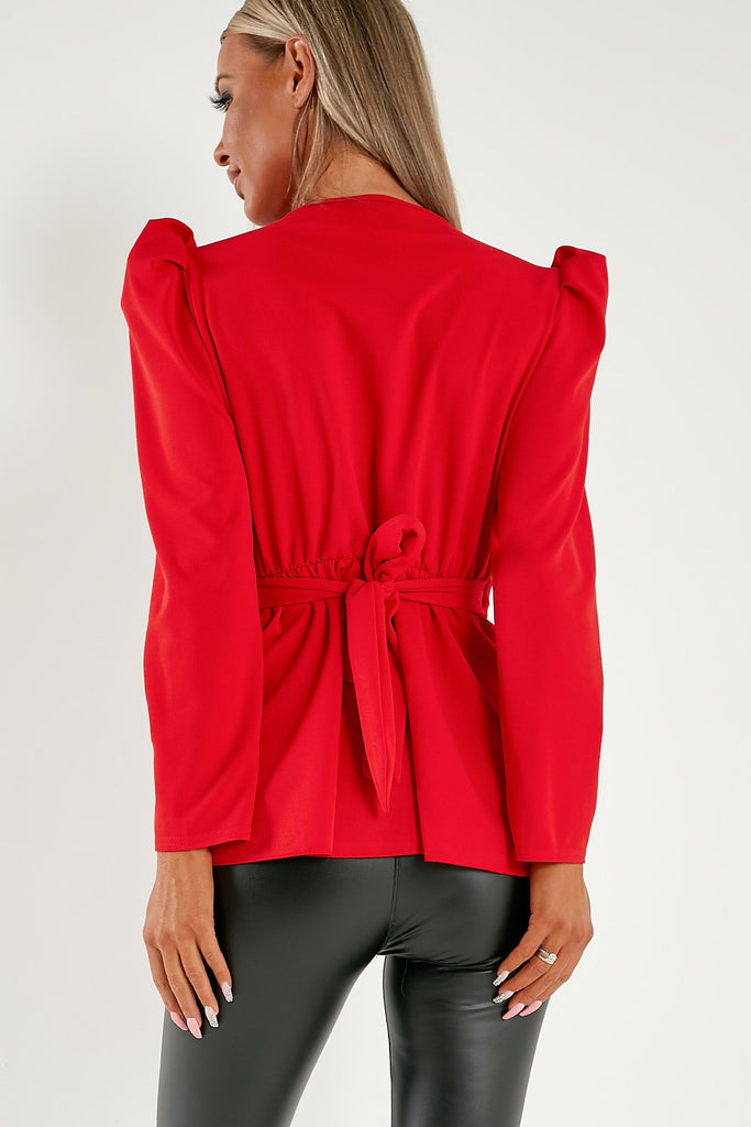 Tabby Red Puff Sleeve Top