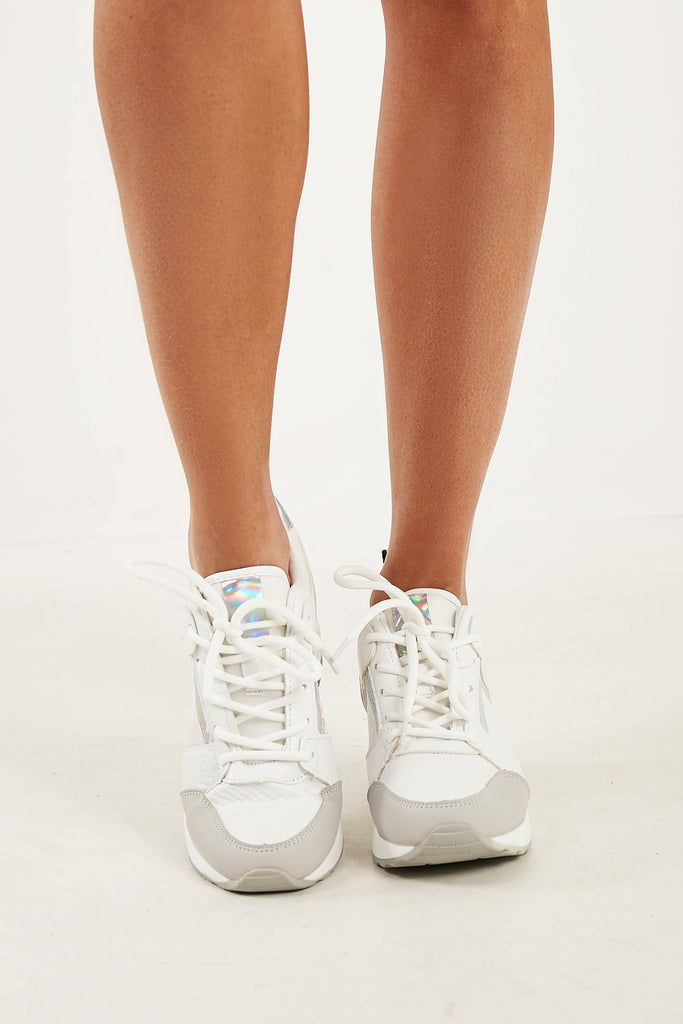 Tabby White Air Bubble Wedge Trainers