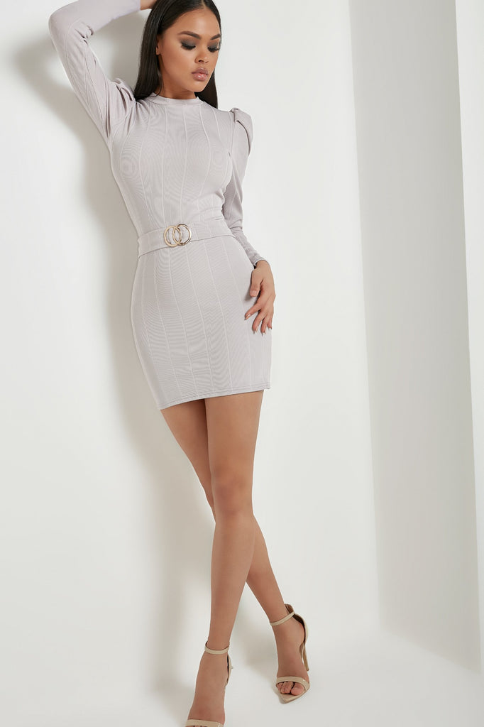 Tabia Light Grey Puff Sleeve Belted Mini Dress