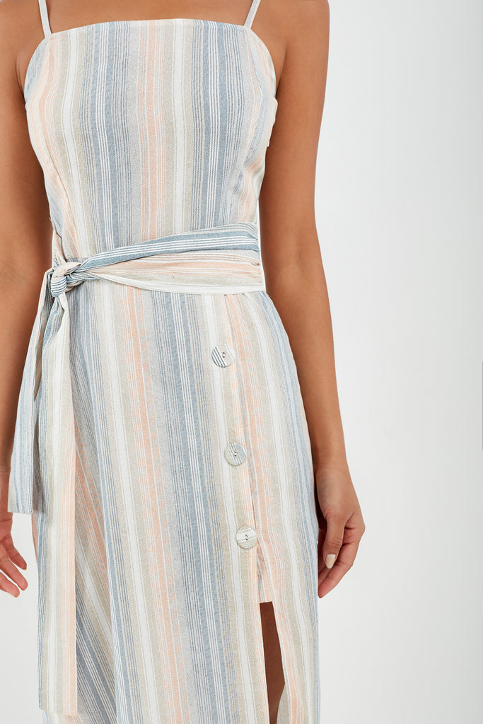 Tabitha Blue Striped Cami Midi Dress