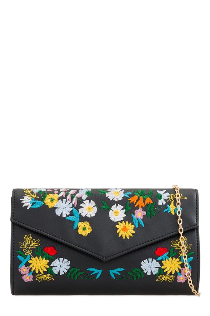 Taimi Black Embroidered Clutch Bag (87782719504)