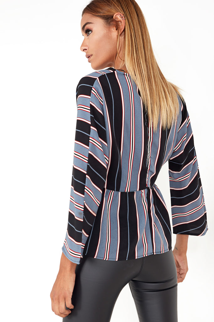 Talitha Blue Striped Button Front Top
