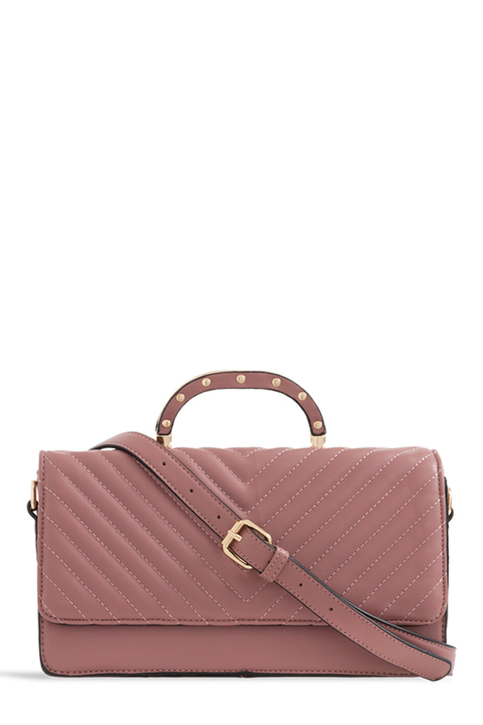 Tallula Dark Pink Quilted Structured Box Bag (1656685297730)