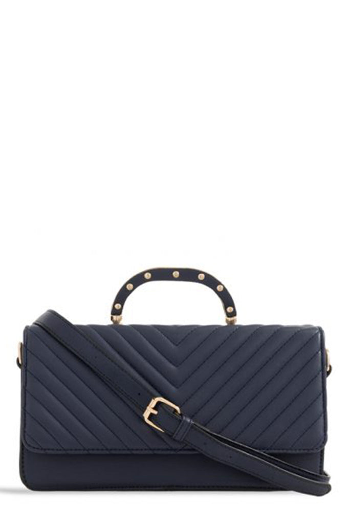Tallula Navy Quilted Structured Box Bag (1656669372482)