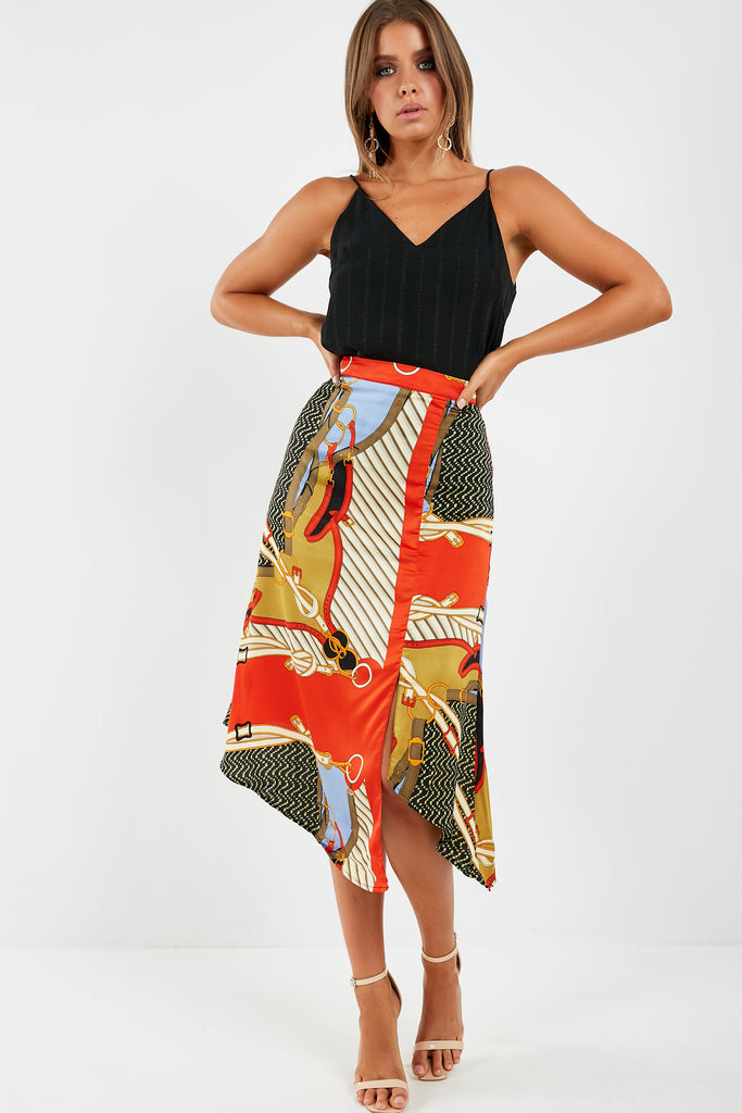 Talora Red Chain Print Midi Skirt