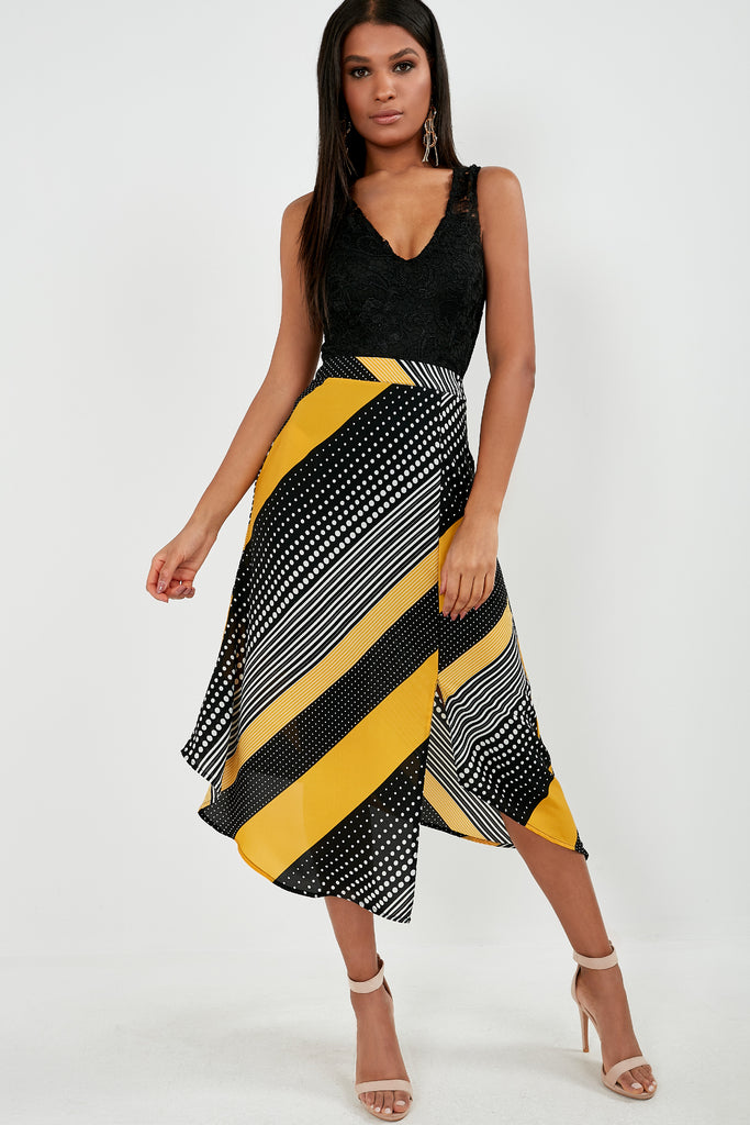 Talora Yellow Multi Print Midi Skirt