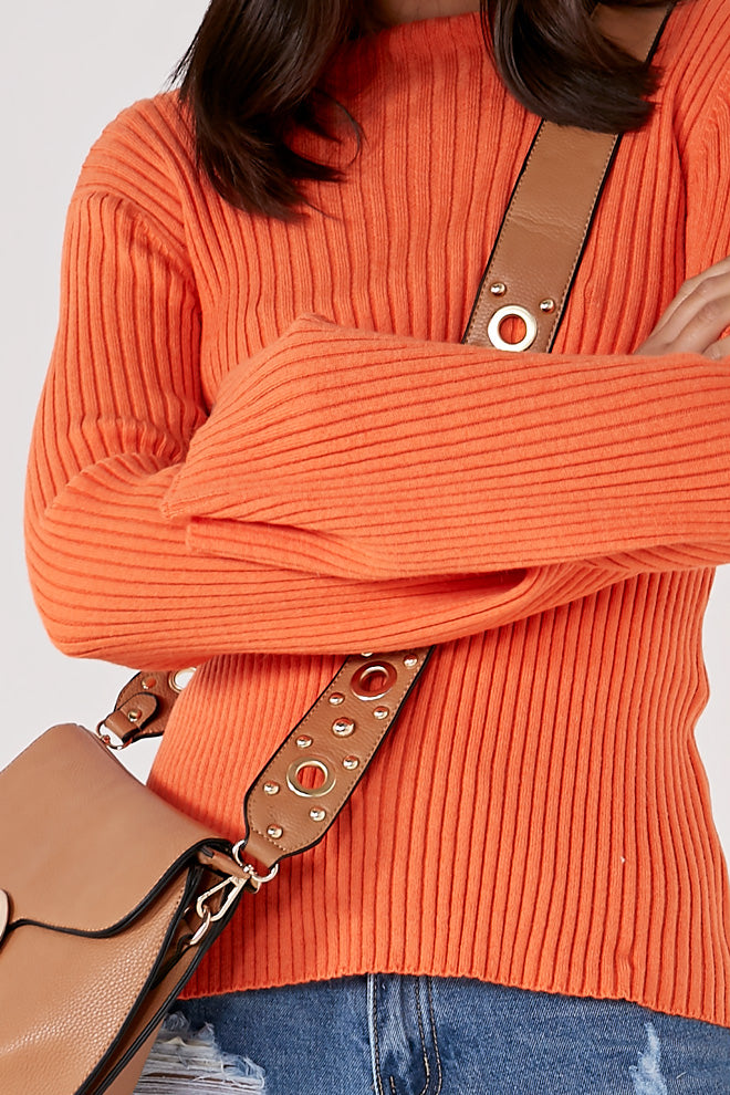 Tamela Orange Ribbed Knit Jumper