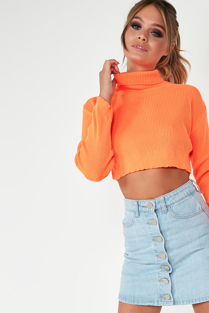 Tami Neon Orange Knit Crop Jumper