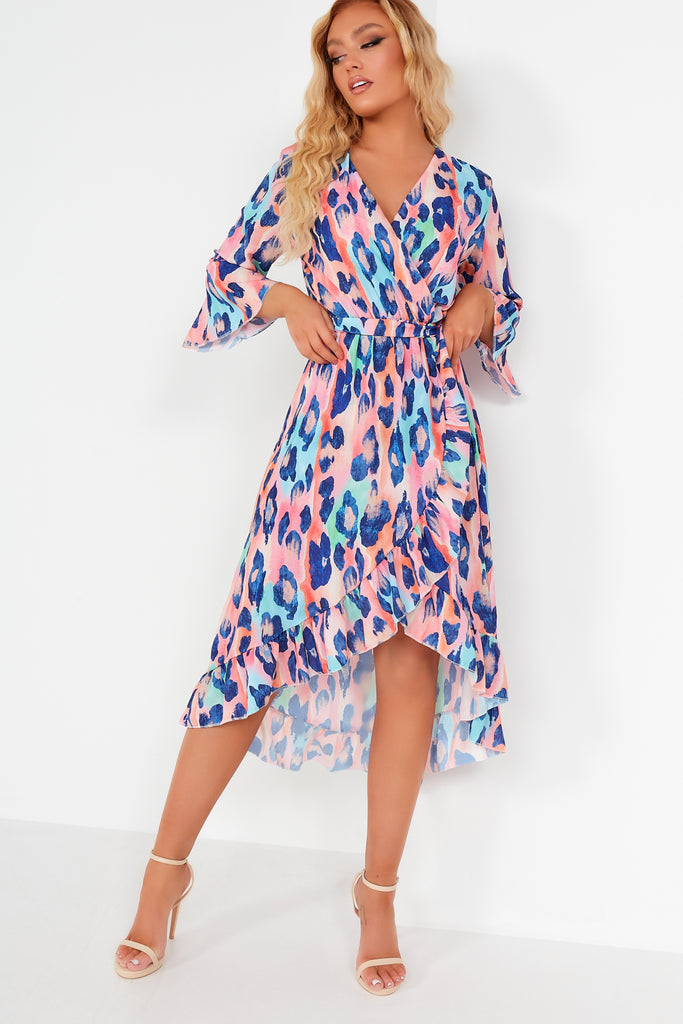 Tamia Pink Animal Print Wrap Midi Dress