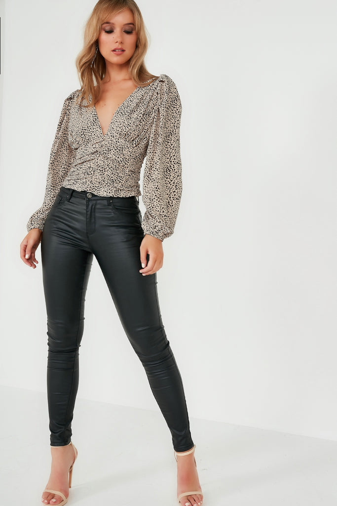 Tamika Stone Spotted Puff Sleeve Top