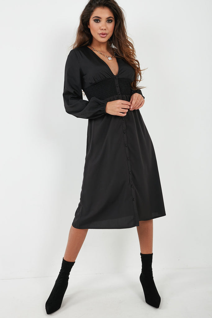 Tammy Black Shirred Waist Button Midi Dress (4360207040578)