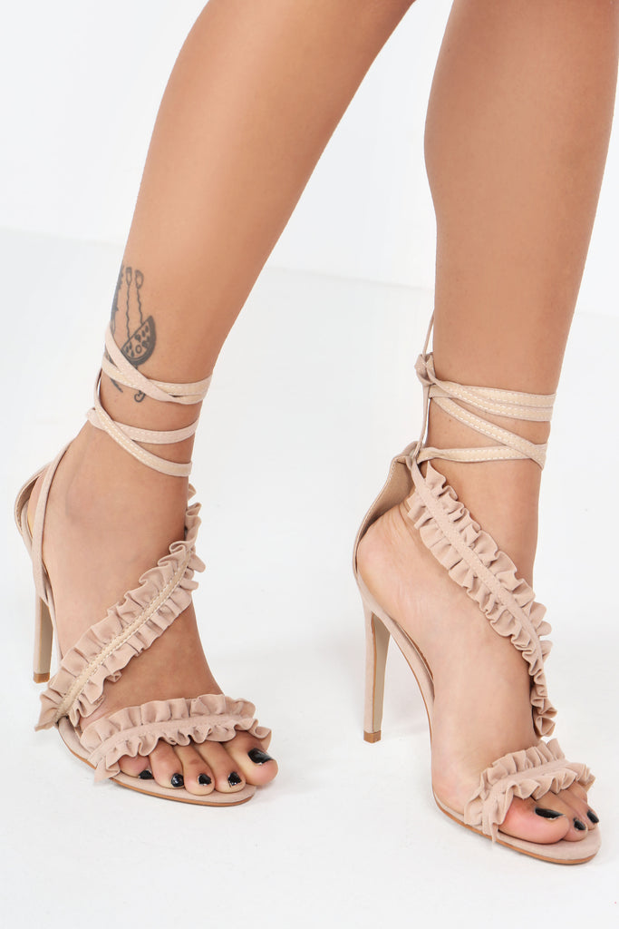 Tamora Nude Suedette Ruffle Sandals