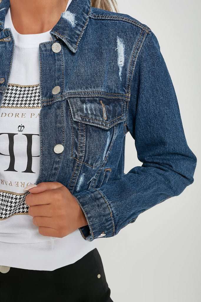 Tamryn Dark Denim Cropped Distressed Jacket