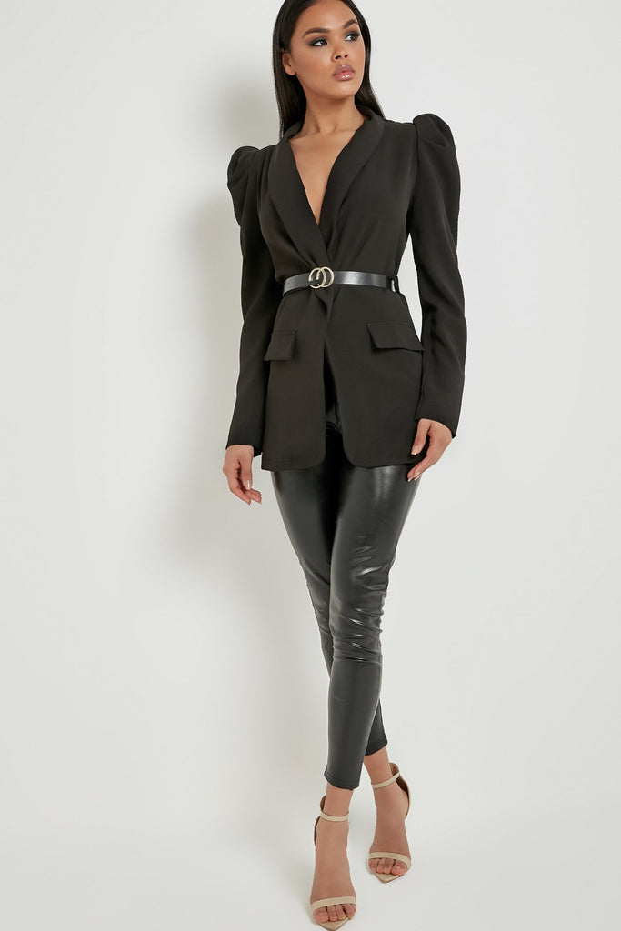 Tamsin Black Puff Sleeve Belted Blazer