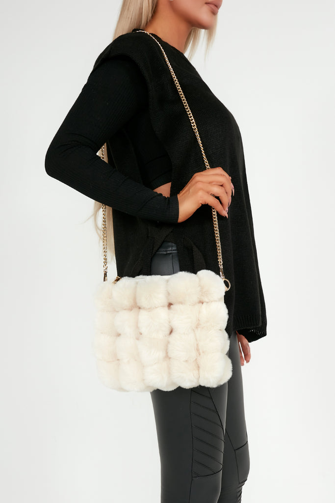 Tanya Cream Faux Fur Bobble Chain Strap Bag
