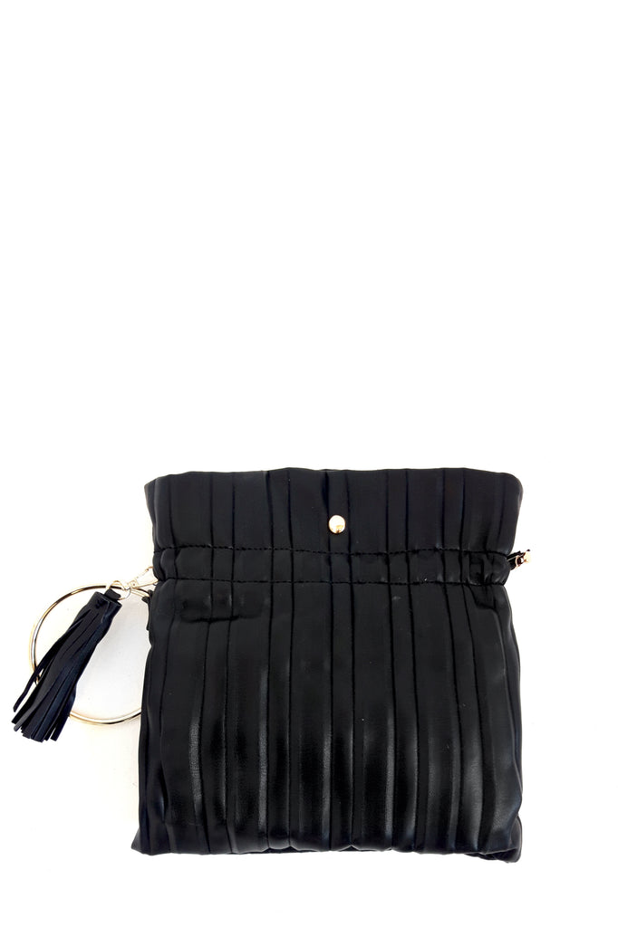 Tara Black Leatherette Ring Handle Bag