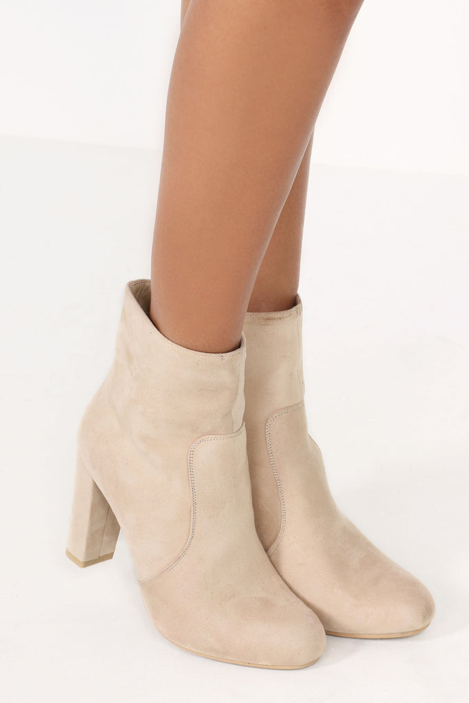 Tarl Beige Suedette Ankle Boot