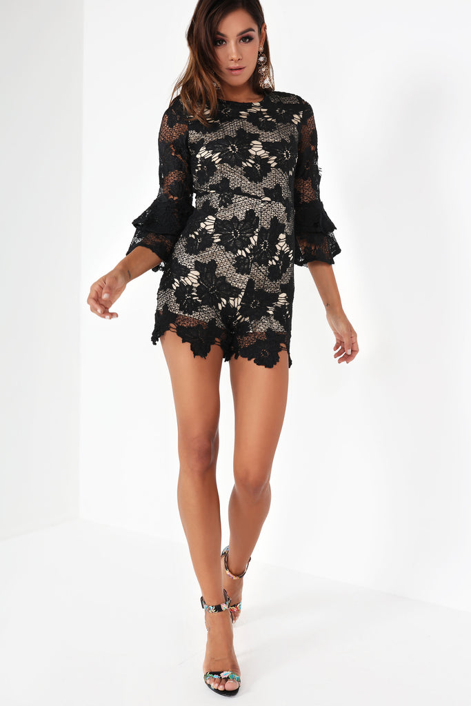 Taryn Black and Nude Crochet Playsuit