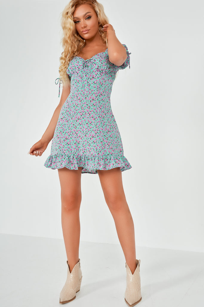 Tasha Blue and Lilac Rose Print Milkmaid Dress