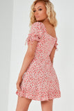 Tasha Pink and Red Rose Print Milkmaid Dress
