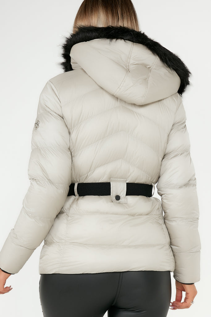 Taya Stone Fur Hooded Belted Puffer Jacket