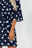 Taylor Navy Polka Dot Tie Front Mini Dress