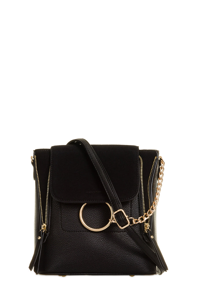 Teah Black Leatherette Backpack