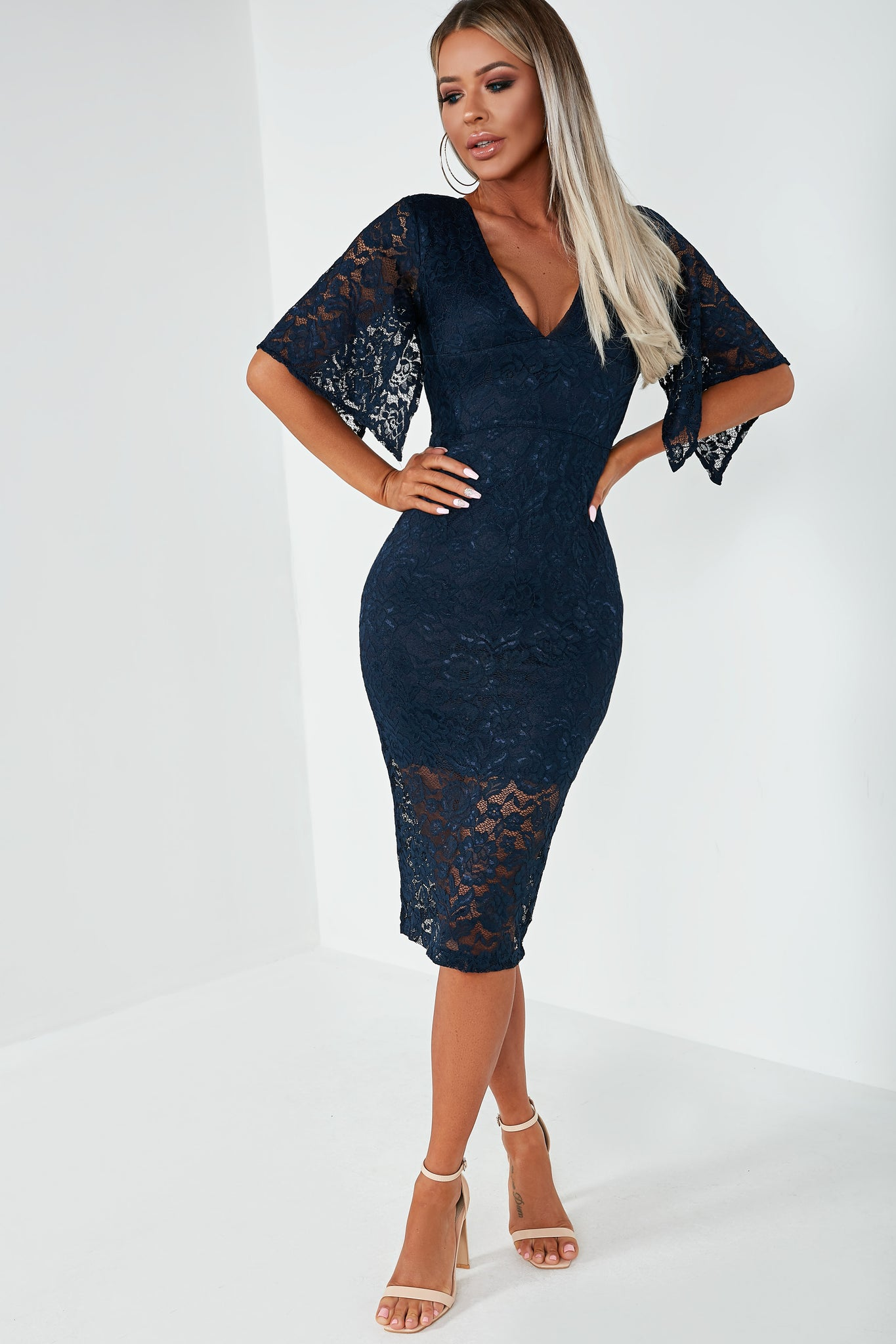 00661c4d0f24 Teah Navy Bell Sleeve Lace Dress. €41.99. Previous