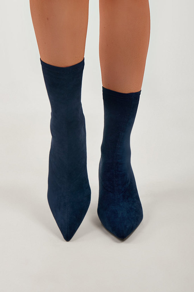 Tee Navy Suedette Ankle Boot (4202531127362)
