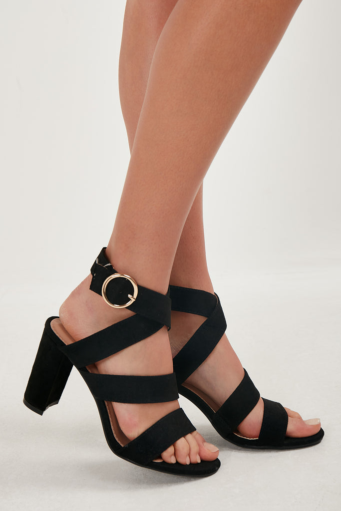 Teegan Black Strappy Block Heel Sandal