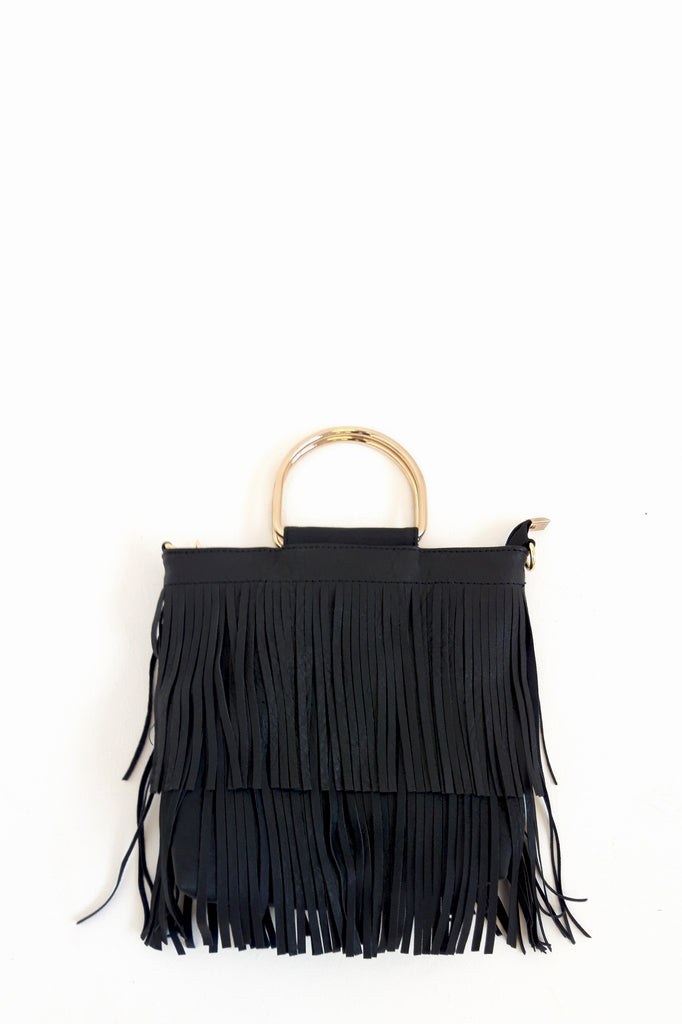 Tella Black Leatherette Fringe Bag