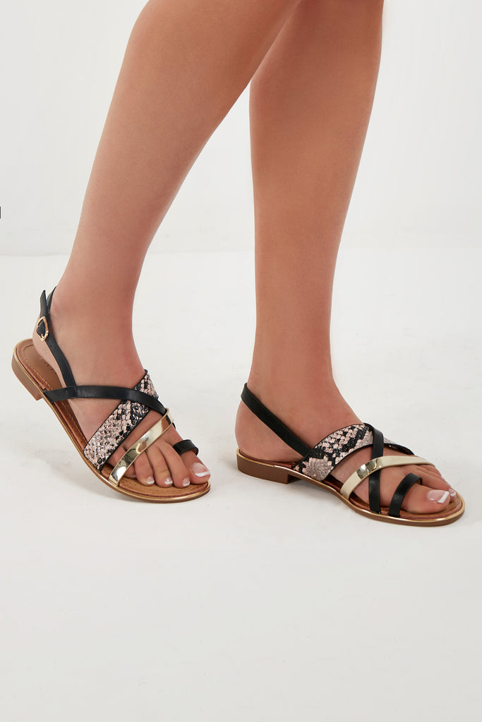 Telma Black Cross Strap Toe Post Sandal