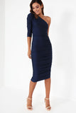 Telsa Navy One Sleeve Dress