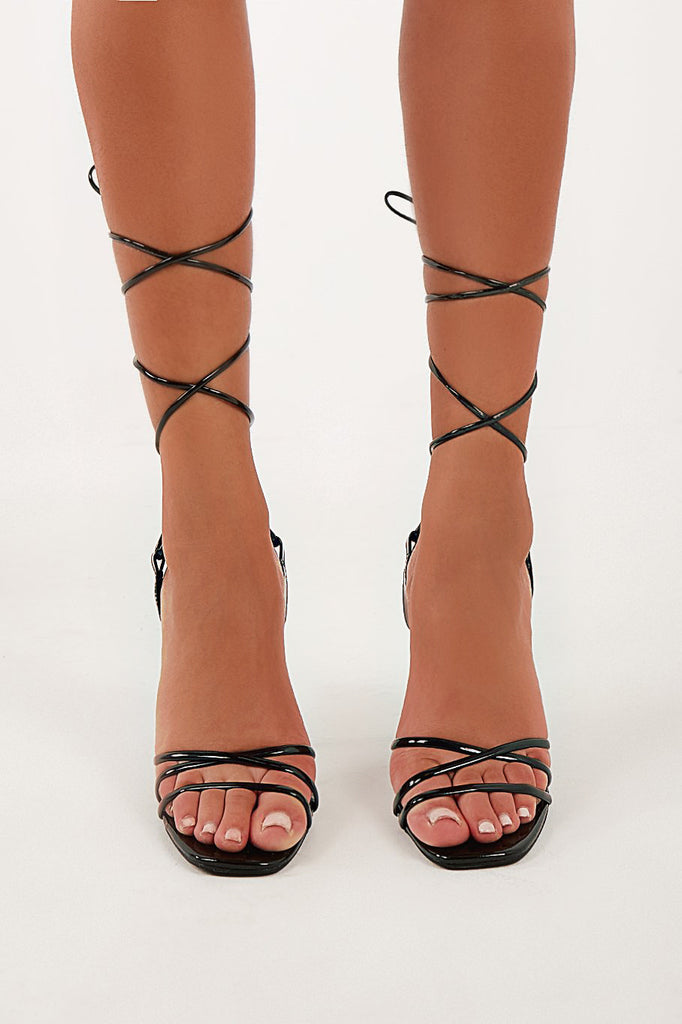 Temmy Black Clear Heel Lace Up Sandals (4202546069570)