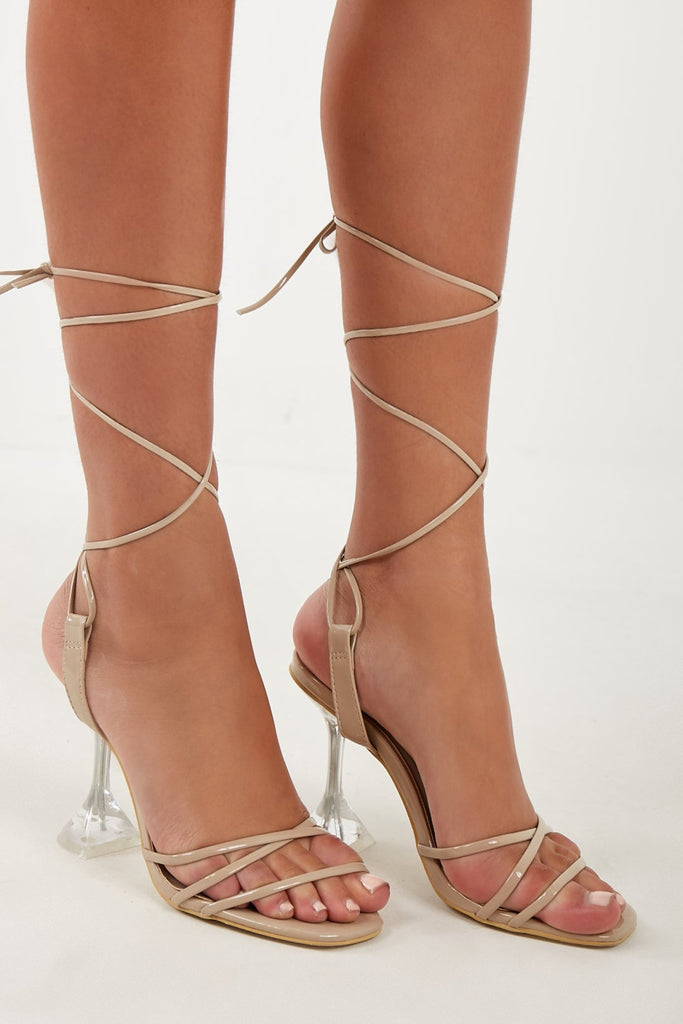 Temmy Nude Clear Heel Lace Up Sandals (4202553016386)