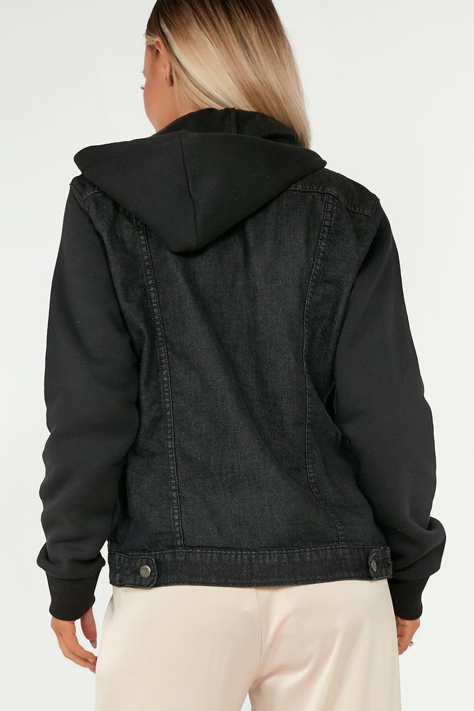 Teresa Black Denim Hooded Jacket