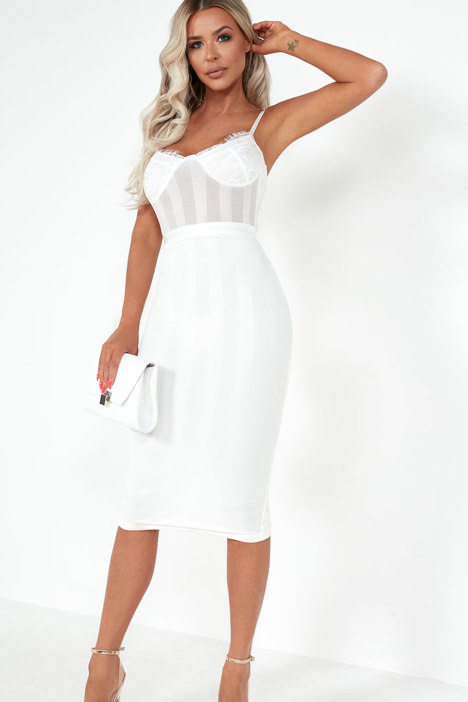 Terry White Striped Mesh Midi Dress