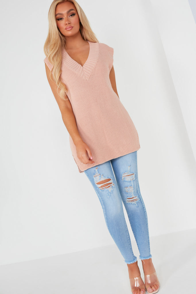 Tessa Blush Knit Oversized Pullover