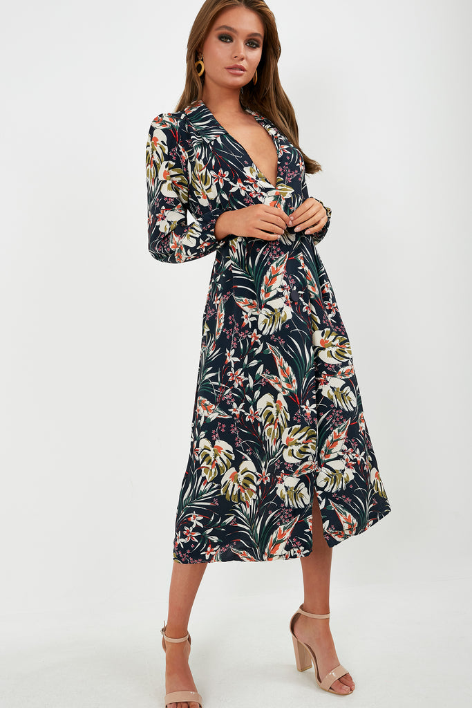 Tessa Navy Floral Maxi Shirt Dress