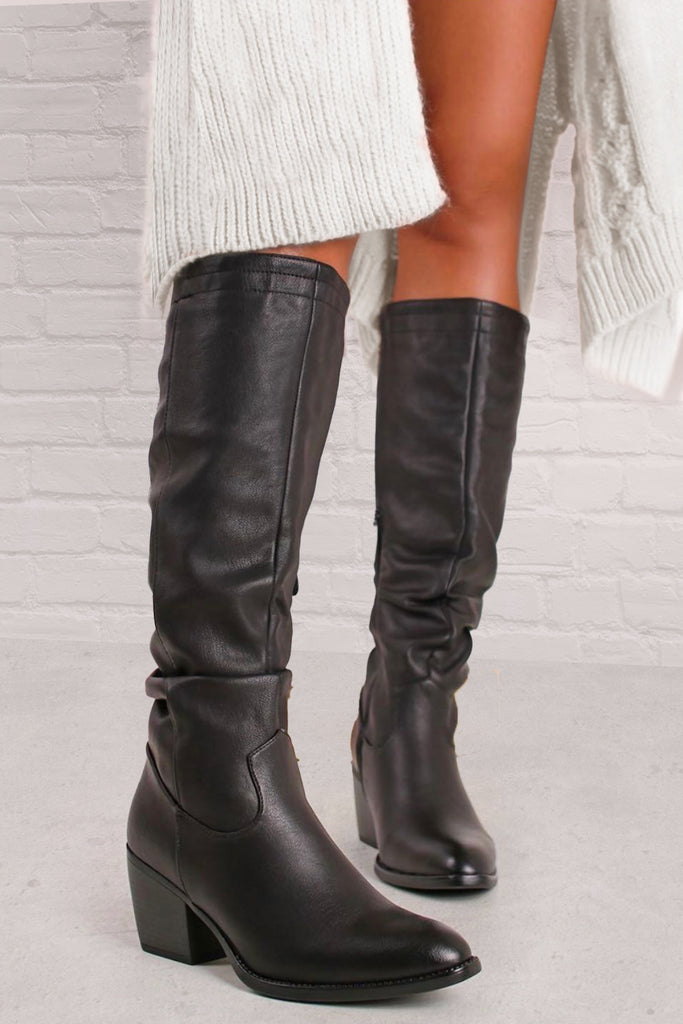 Tessie Black Slouch Knee High Boots