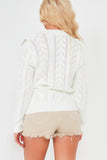 Tessy Cream V Neck Frill Cardigan