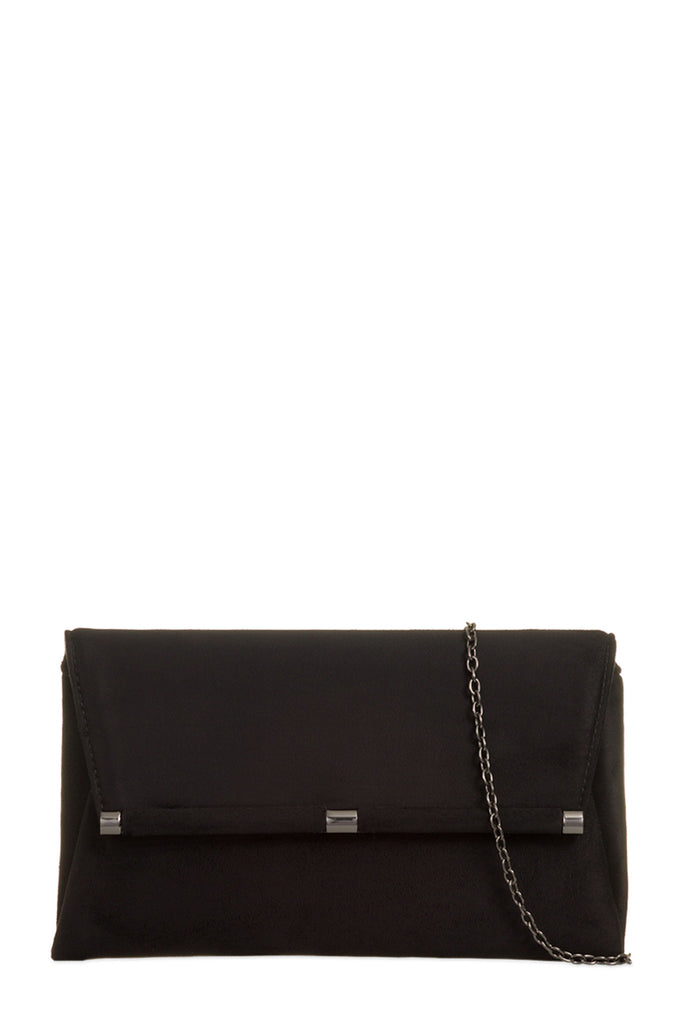 Thea Black Suedette Clutch Bag
