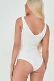 Thea White Ribbed V Neck Bodysuit