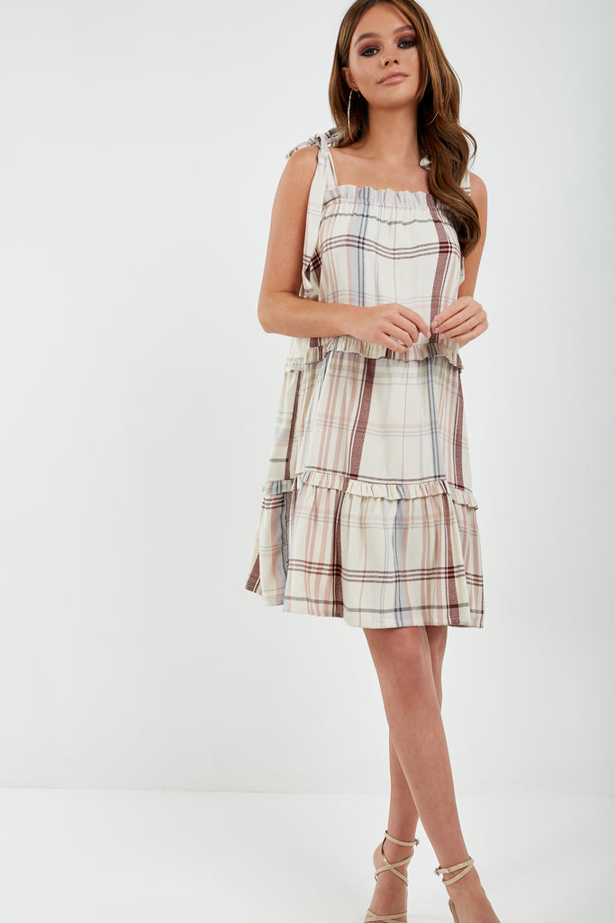 Thelma Cream Check Tiered Smock Dress