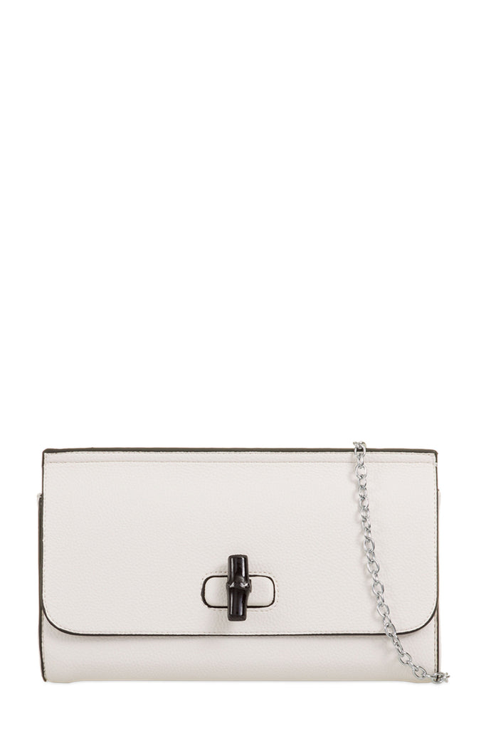 Thora White Leatherette Button Clutch Bag