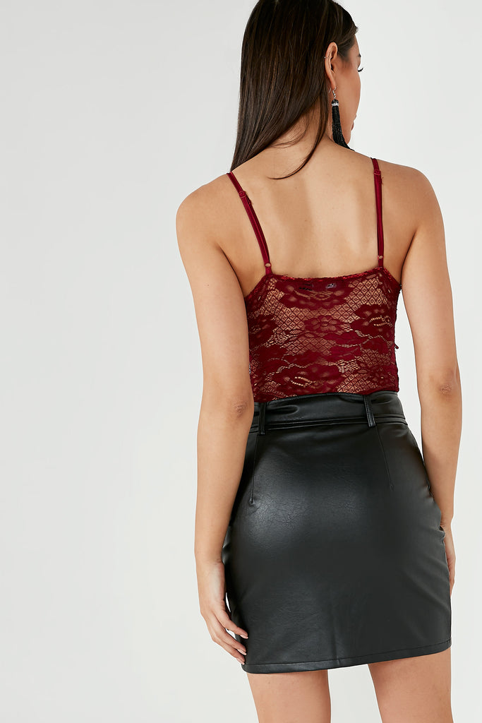 Tia Burgundy Lace Panel Bodysuit