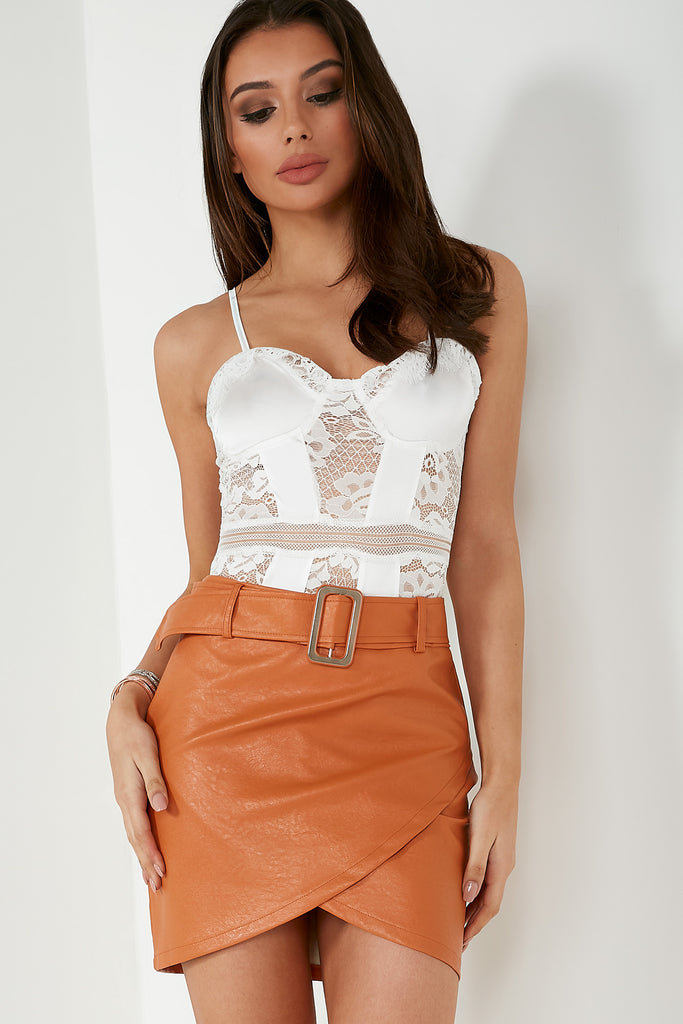 Tia White Lace Panel Bodysuit